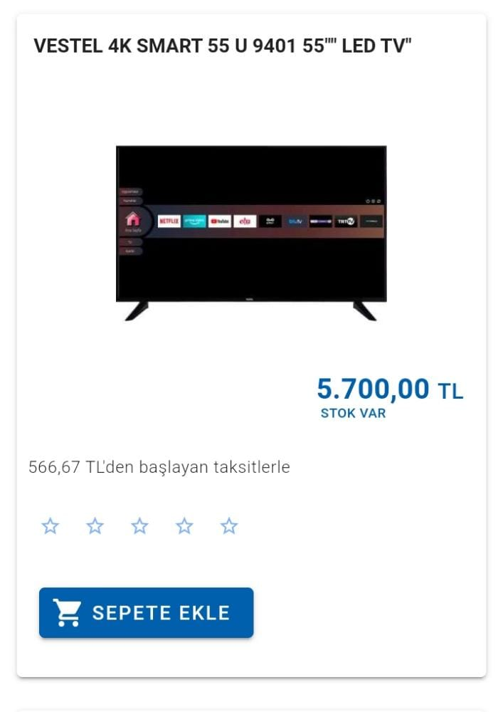 VESTEL 4K SMART 55U 455 LED TV